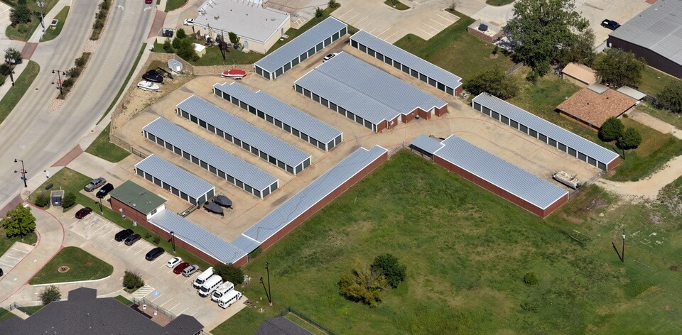 Storage units with new commercial roof on them